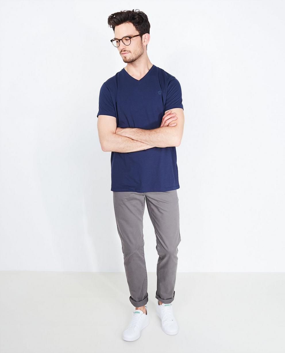 T-shirt avec encolure en V - bleu marine, en coton bio - Tim Moore